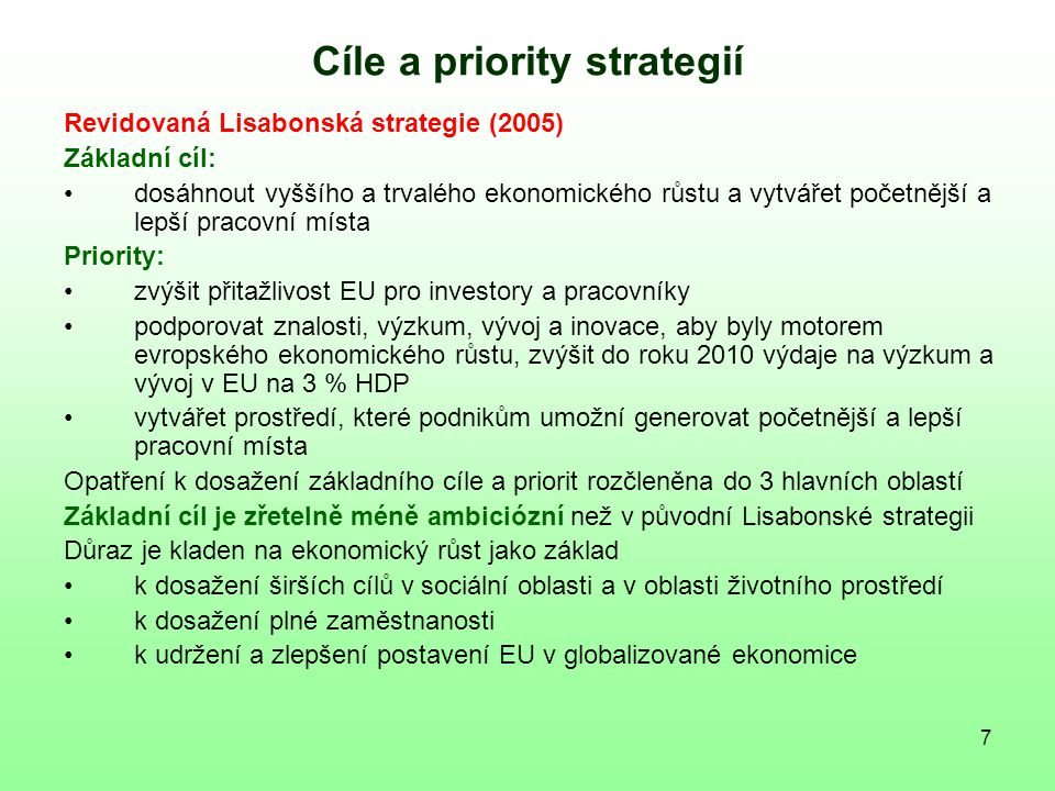 Cíle a priority strategií
