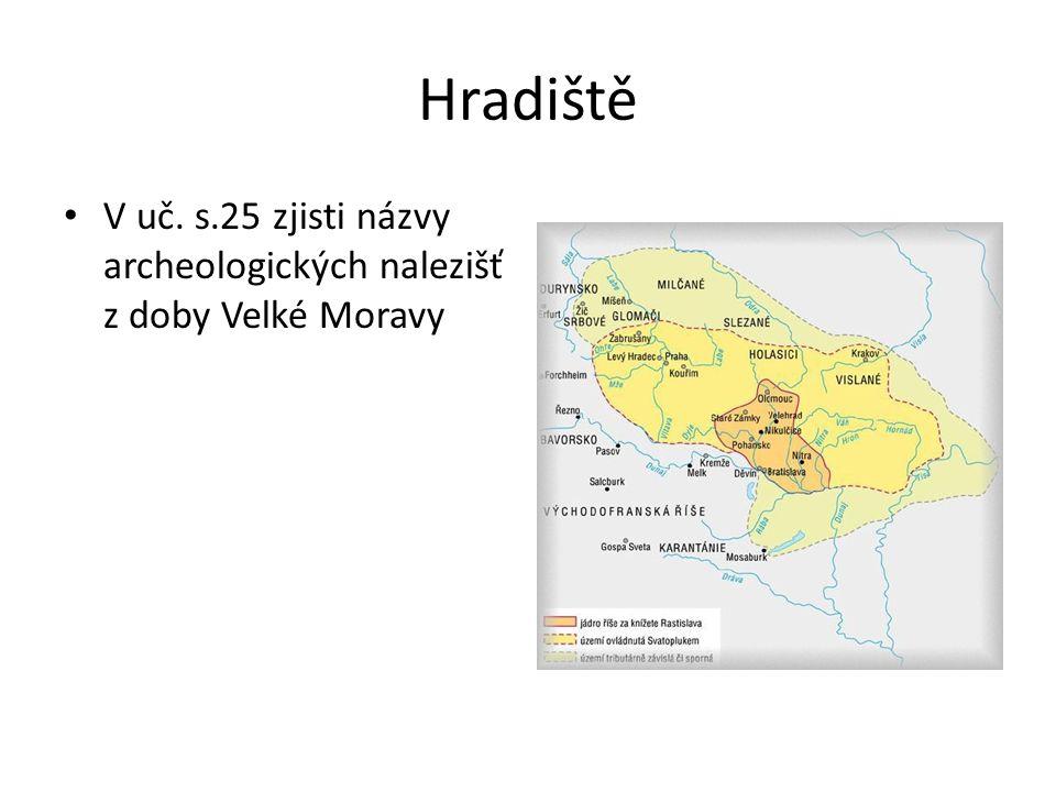 Hradiště V uč. s.25 zjisti názvy archeologických nalezišť z doby Velké Moravy