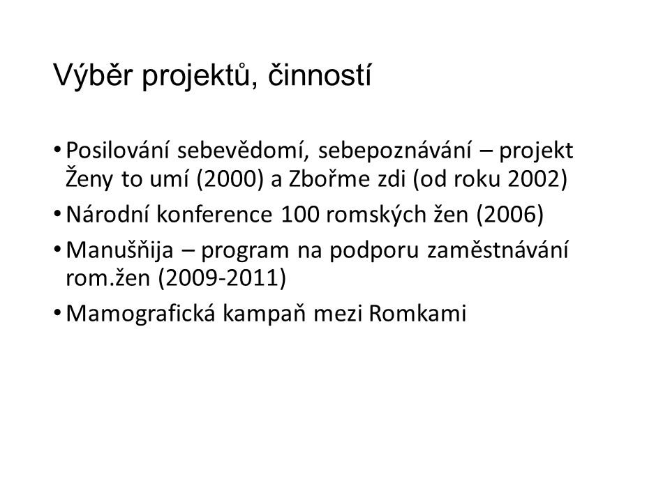 Výběr projektů, činností