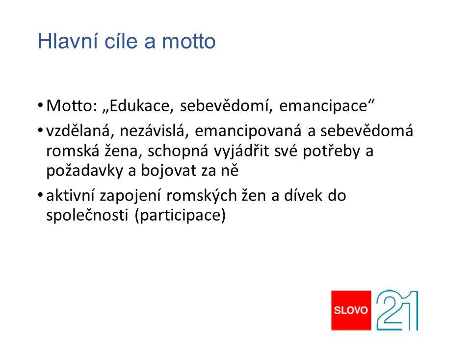 """Hlavní cíle a motto Motto: """"Edukace, sebevědomí, emancipace"""