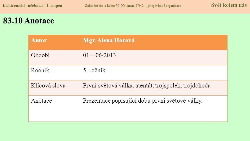 83.10 Anotace Autor Mgr. Alena Horová Období 01 – 06/2013 Ročník