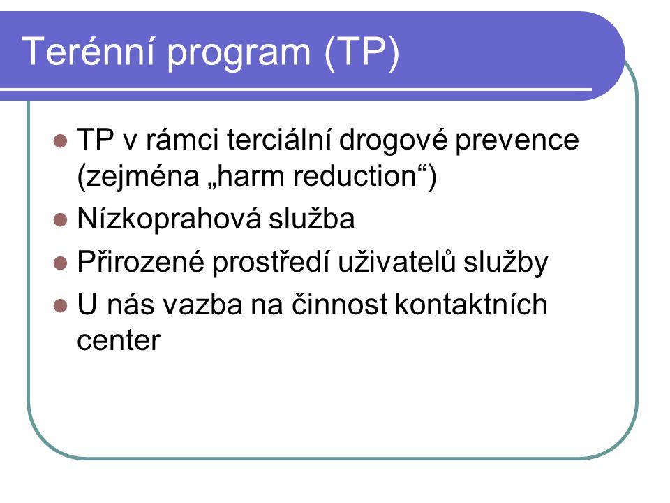 """Terénní program (TP) TP v rámci terciální drogové prevence (zejména """"harm reduction ) Nízkoprahová služba."""