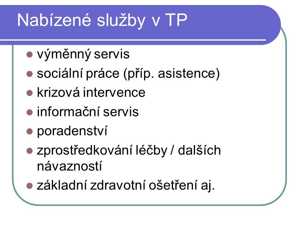 Nabízené služby v TP výměnný servis sociální práce (příp. asistence)