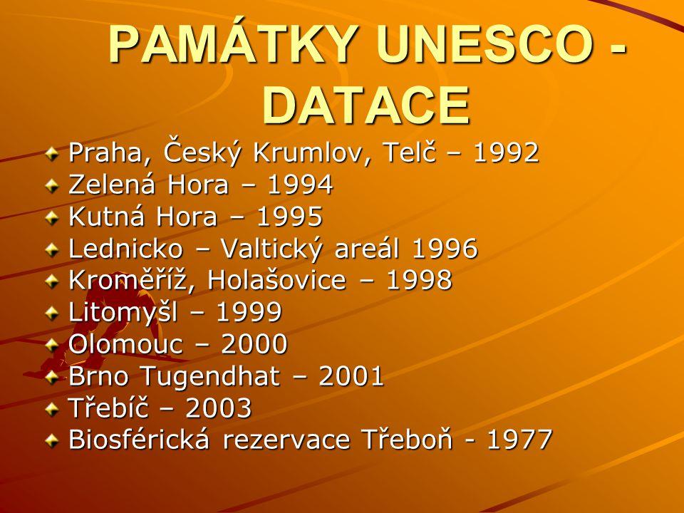 PAMÁTKY UNESCO - DATACE