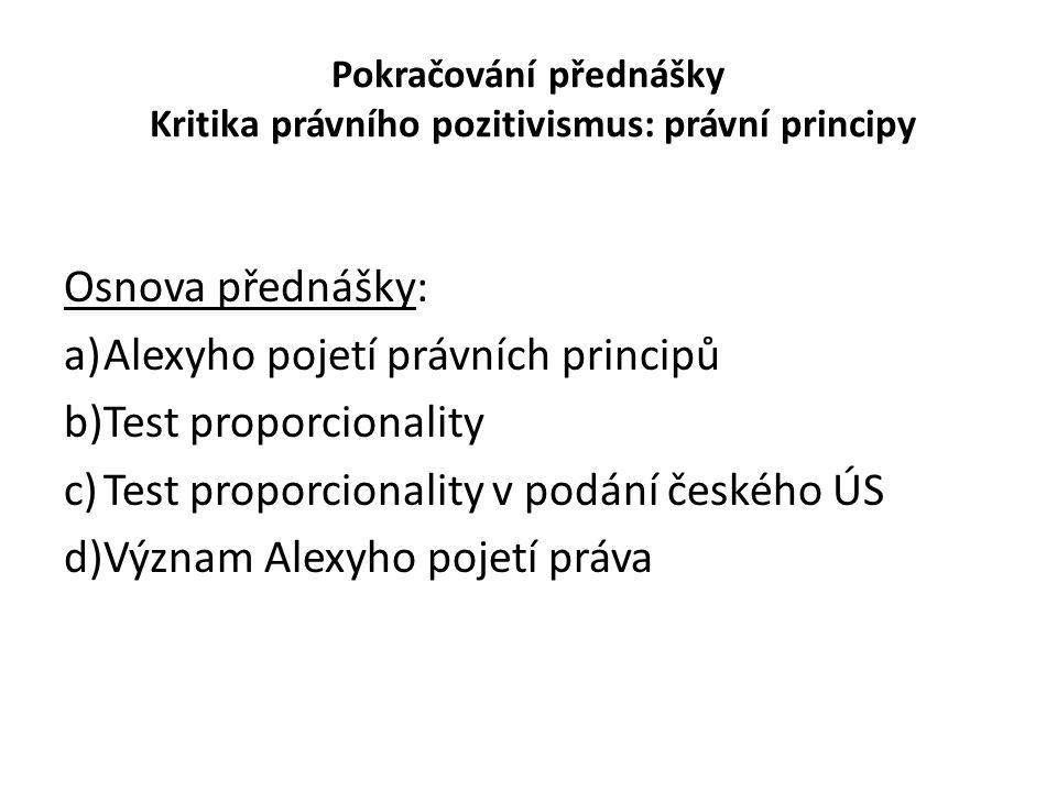 Pokračování přednášky Kritika právního pozitivismus: právní principy