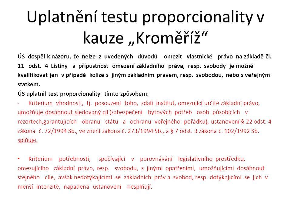 """Uplatnění testu proporcionality v kauze """"Kroměříž"""