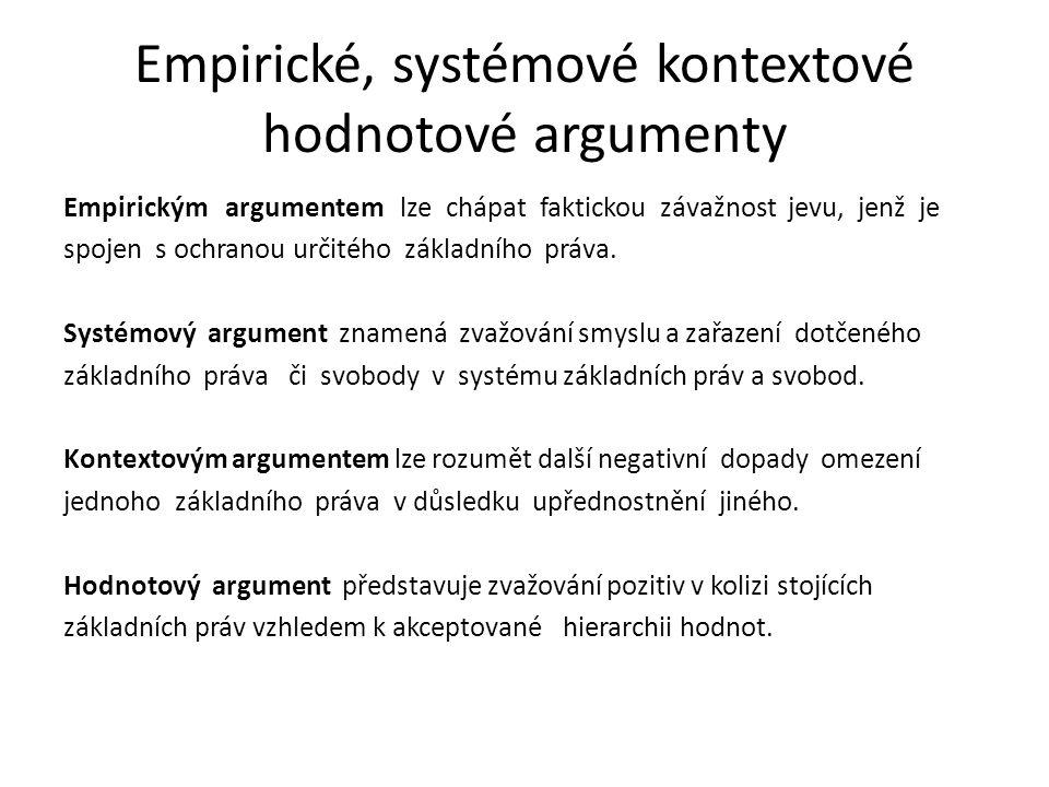 Empirické, systémové kontextové hodnotové argumenty