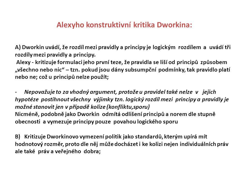 Alexyho konstruktivní kritika Dworkina: