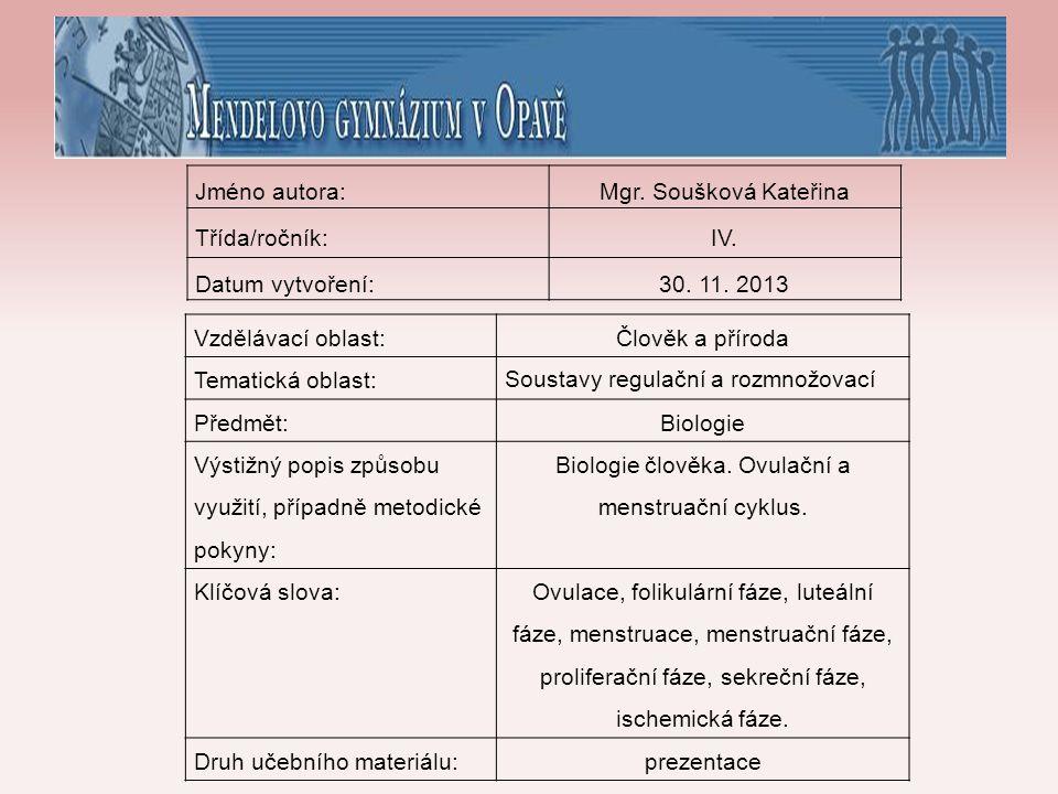 Biologie člověka. Ovulační a menstruační cyklus.
