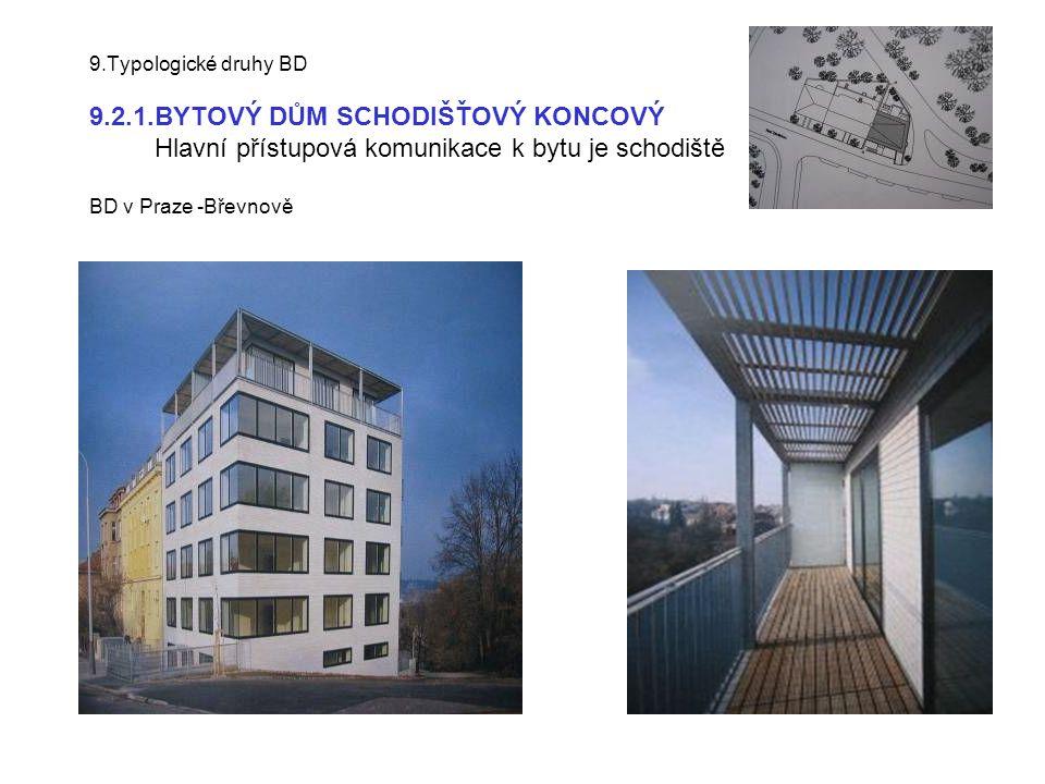 9.Typologické druhy BD 9.2.1.BYTOVÝ DŮM SCHODIŠŤOVÝ KONCOVÝ Hlavní přístupová komunikace k bytu je schodiště BD v Praze -Břevnově