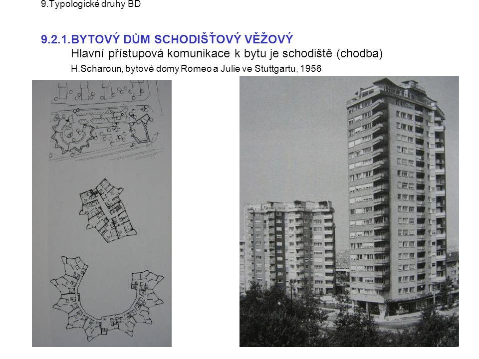 9.Typologické druhy BD 9.2.1.BYTOVÝ DŮM SCHODIŠŤOVÝ VĚŽOVÝ Hlavní přístupová komunikace k bytu je schodiště (chodba) H.Scharoun, bytové domy Romeo a Julie ve Stuttgartu, 1956