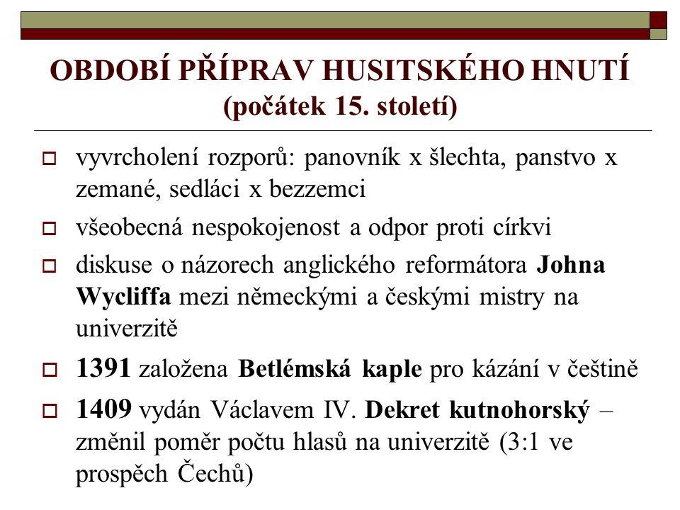 OBDOBÍ PŘÍPRAV HUSITSKÉHO HNUTÍ (počátek 15. století)