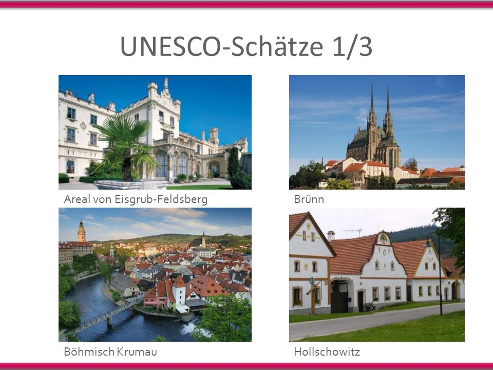 UNESCO-Schätze 1/3 Areal von Eisgrub-Feldsberg Brünn Böhmisch Krumau