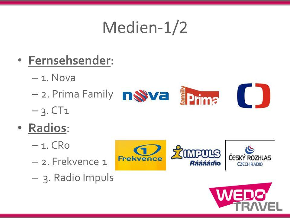 Medien-1/2 Fernsehsender: Radios: 1. Nova 2. Prima Family 3. CT1