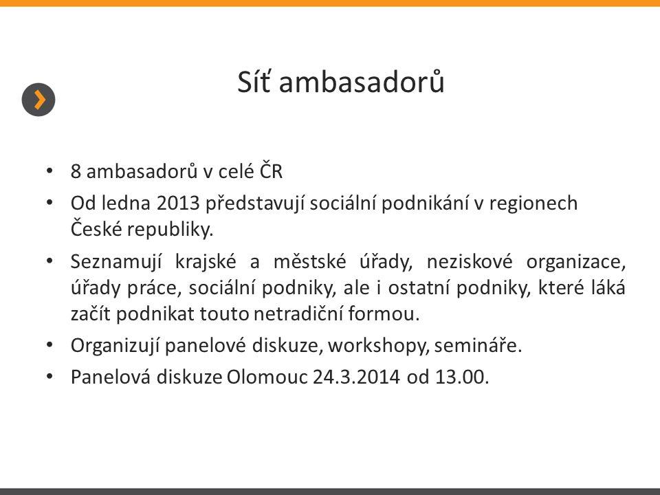 Síť ambasadorů 8 ambasadorů v celé ČR