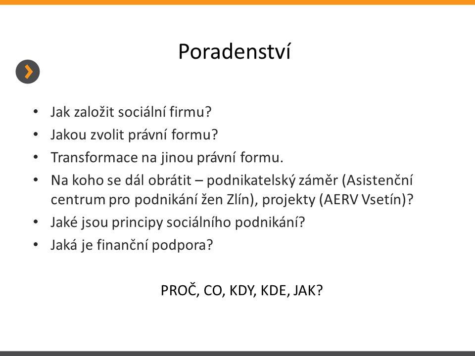 Poradenství Jak založit sociální firmu Jakou zvolit právní formu