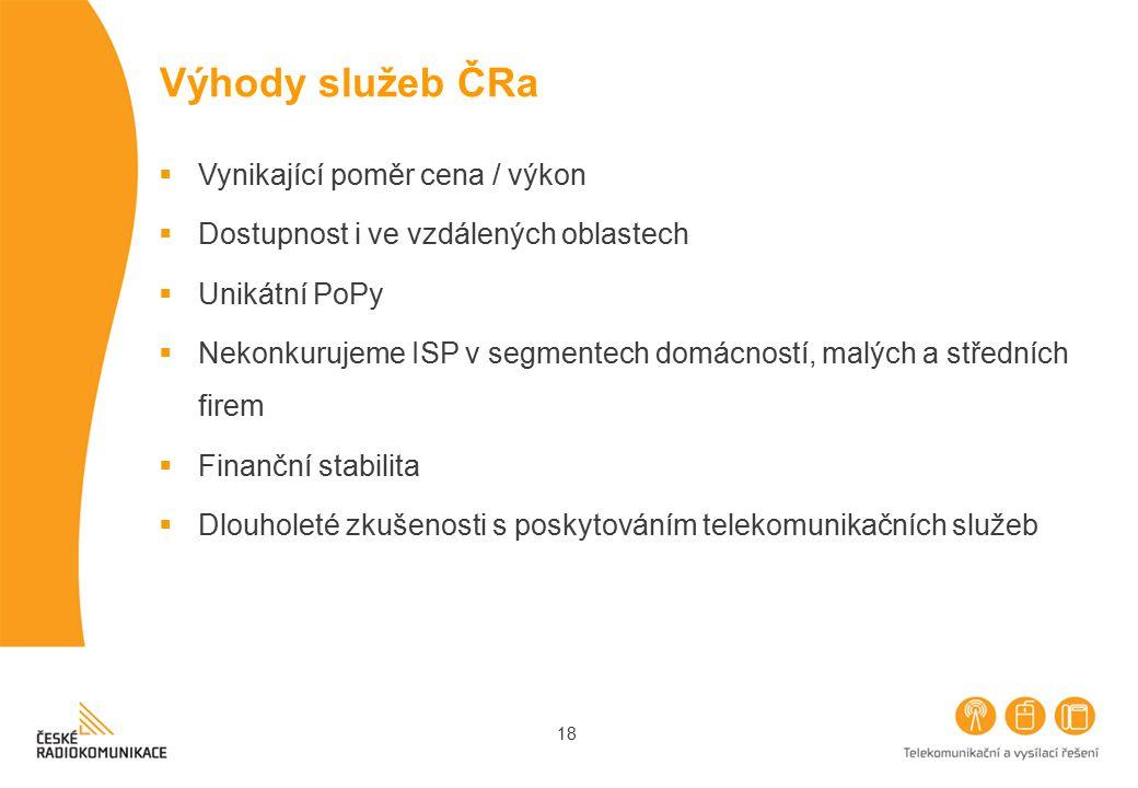 Výhody služeb ČRa Vynikající poměr cena / výkon
