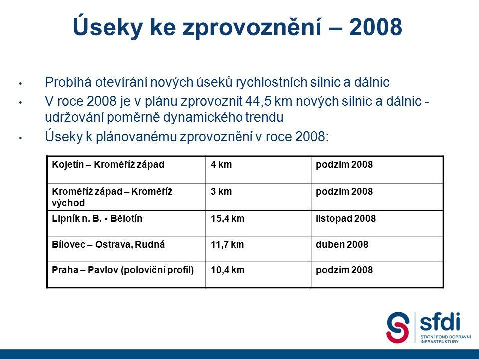Úseky ke zprovoznění – 2008 Probíhá otevírání nových úseků rychlostních silnic a dálnic.