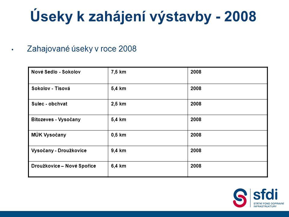 Úseky k zahájení výstavby - 2008
