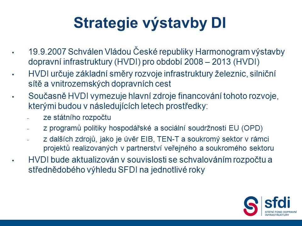 Strategie výstavby DI 19.9.2007 Schválen Vládou České republiky Harmonogram výstavby dopravní infrastruktury (HVDI) pro období 2008 – 2013 (HVDI)