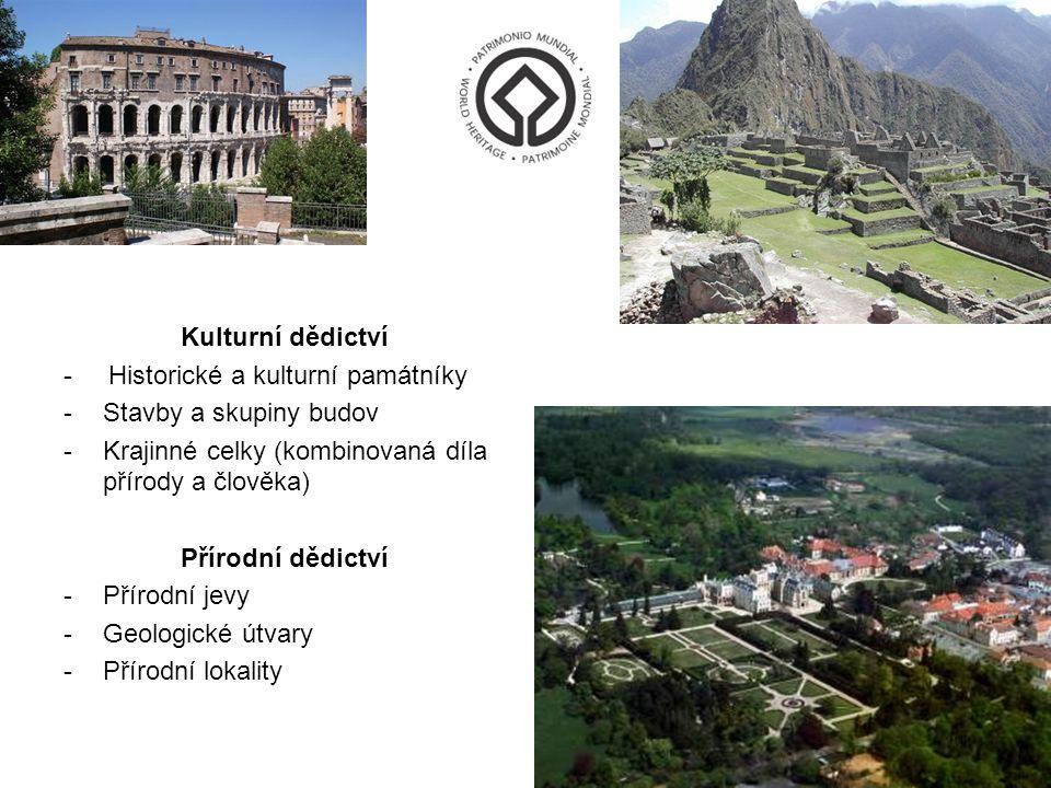 Kulturní dědictví - Historické a kulturní památníky. Stavby a skupiny budov. Krajinné celky (kombinovaná díla přírody a člověka)