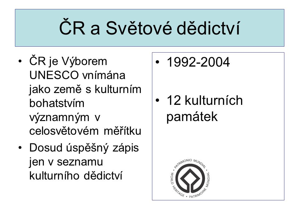 ČR a Světové dědictví 1992-2004 12 kulturních památek