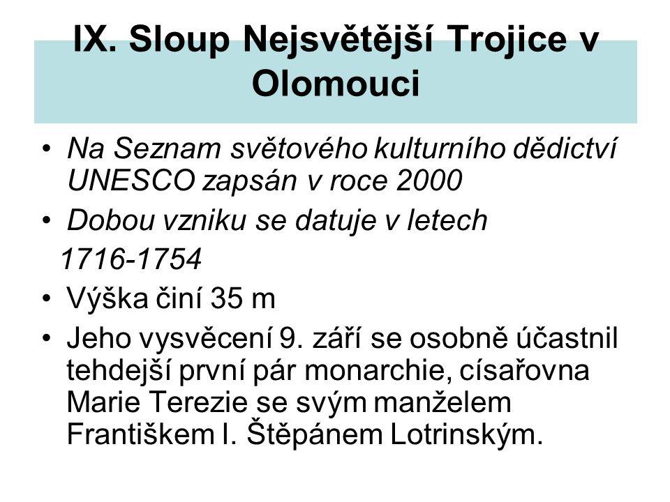 IX. Sloup Nejsvětější Trojice v Olomouci