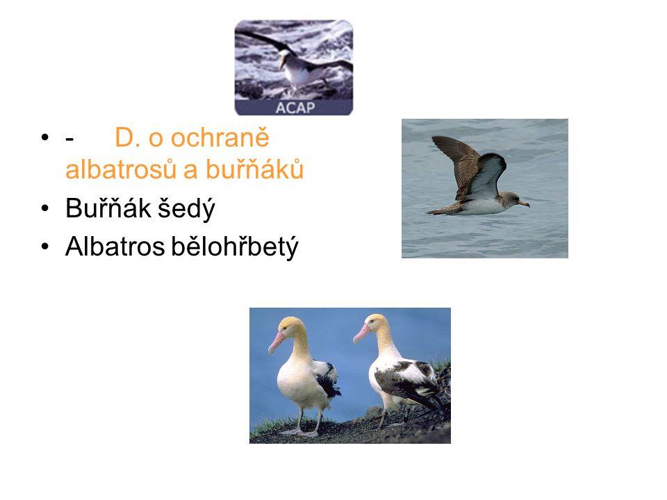 - D. o ochraně albatrosů a buřňáků