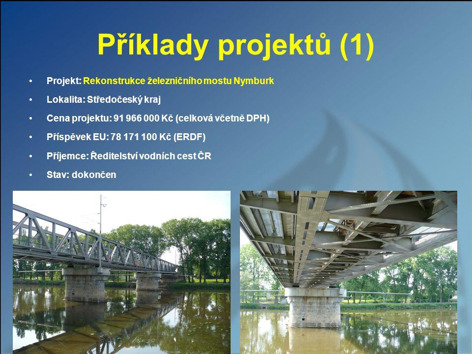 Příklady projektů (1) Projekt: Rekonstrukce železničního mostu Nymburk