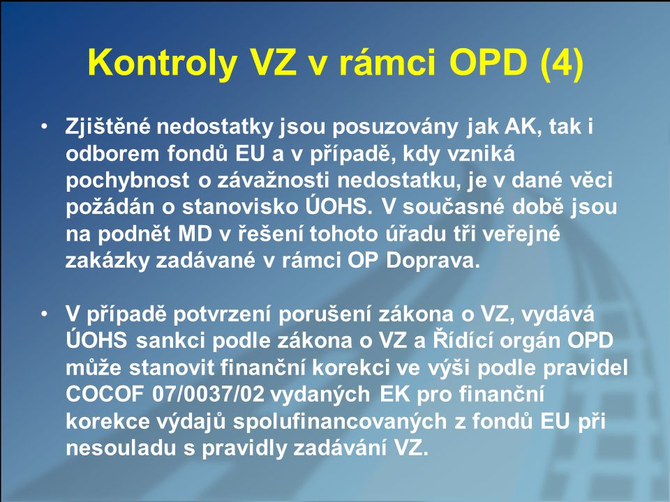 Kontroly VZ v rámci OPD (4)