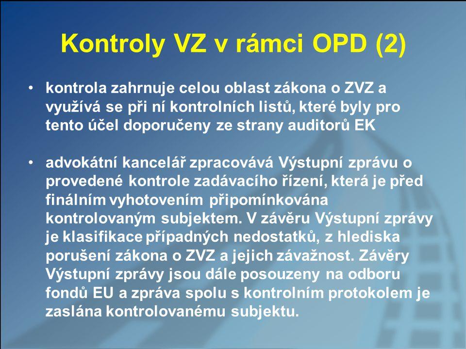 Kontroly VZ v rámci OPD (2)