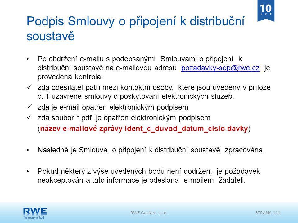 Podpis Smlouvy o připojení k distribuční soustavě