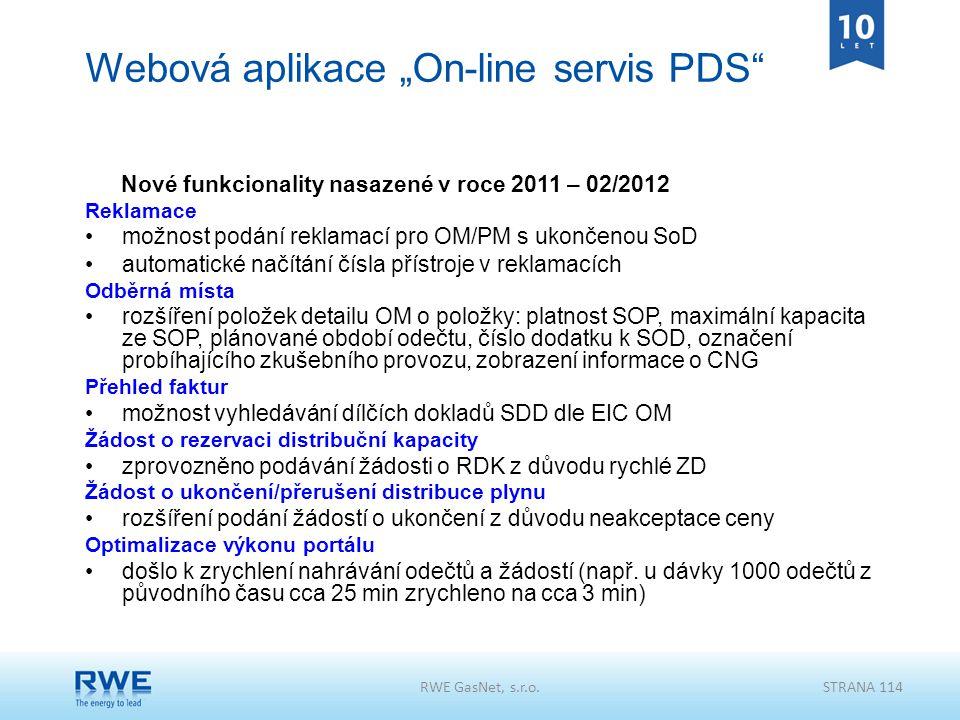"""Webová aplikace """"On-line servis PDS"""