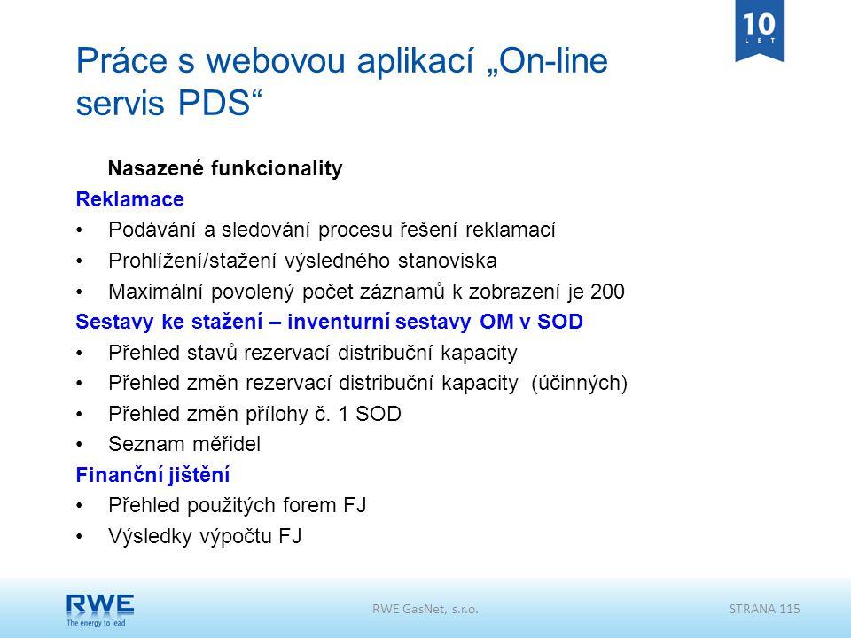"""Práce s webovou aplikací """"On-line servis PDS"""