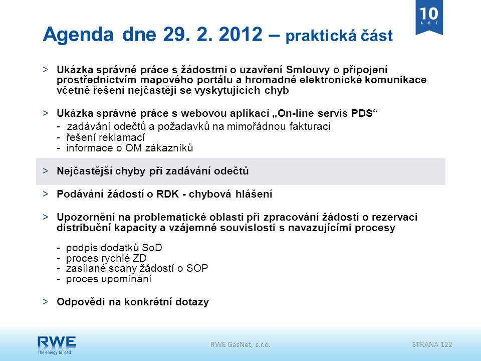 Agenda dne 29. 2. 2012 – praktická část