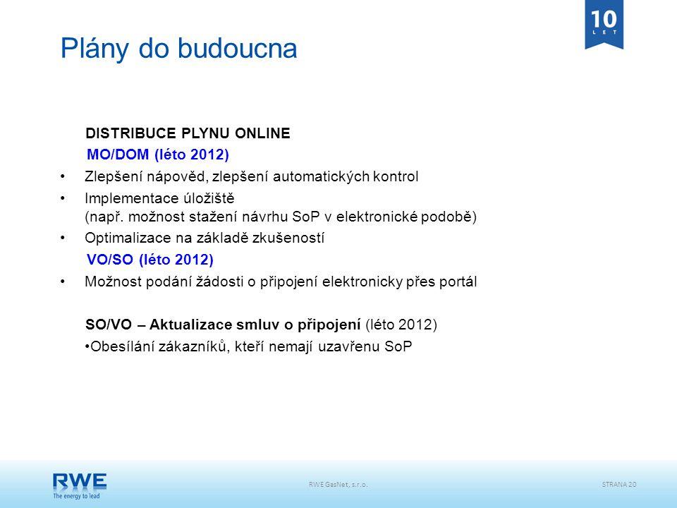 Plány do budoucna DISTRIBUCE PLYNU ONLINE MO/DOM (léto 2012)
