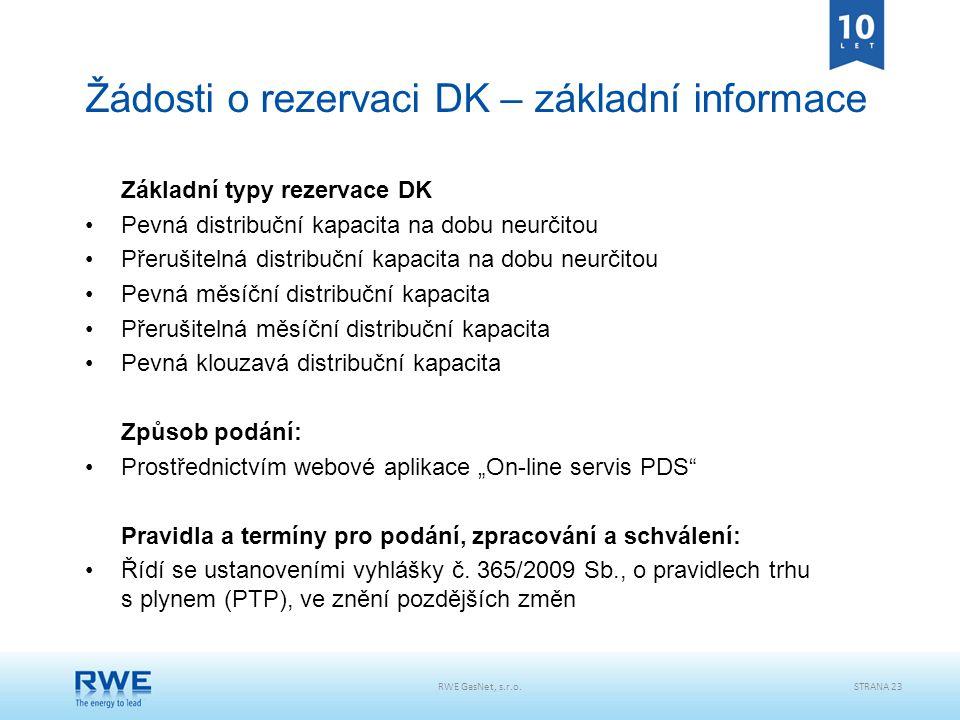 Žádosti o rezervaci DK – základní informace