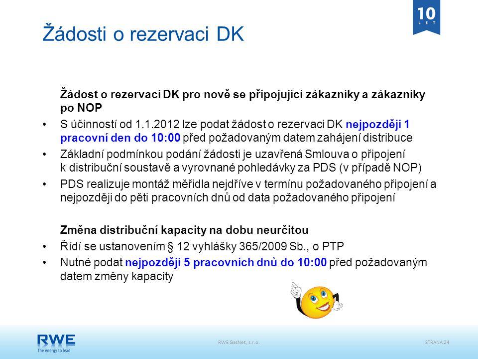 Žádosti o rezervaci DK Žádost o rezervaci DK pro nově se připojující zákazníky a zákazníky po NOP.