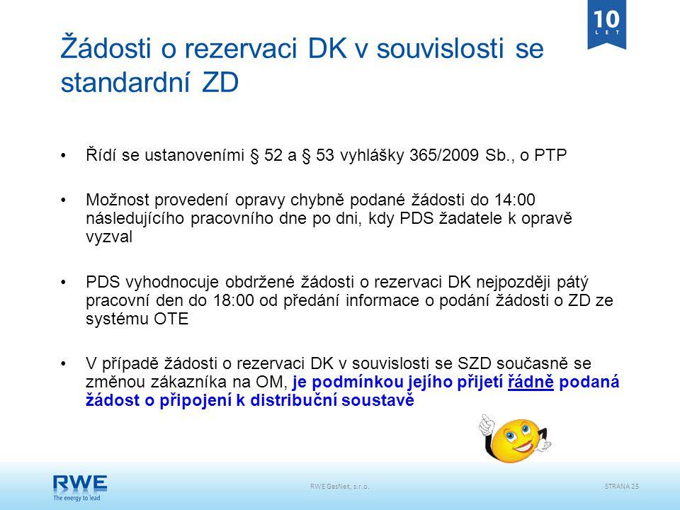 Žádosti o rezervaci DK v souvislosti se standardní ZD