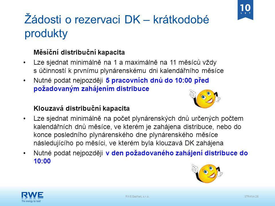 Žádosti o rezervaci DK – krátkodobé produkty