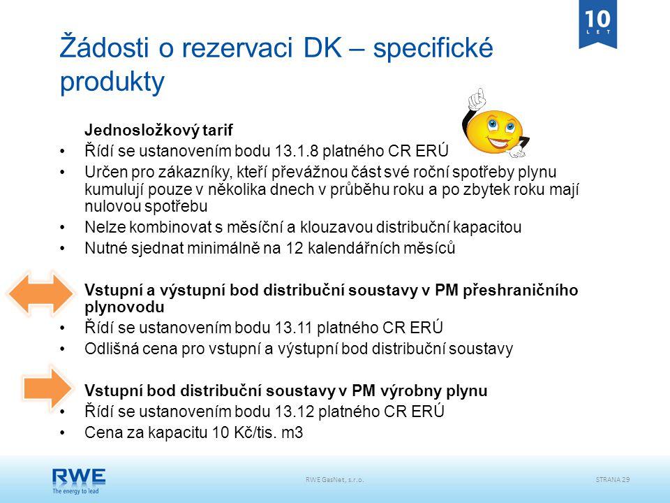 Žádosti o rezervaci DK – specifické produkty