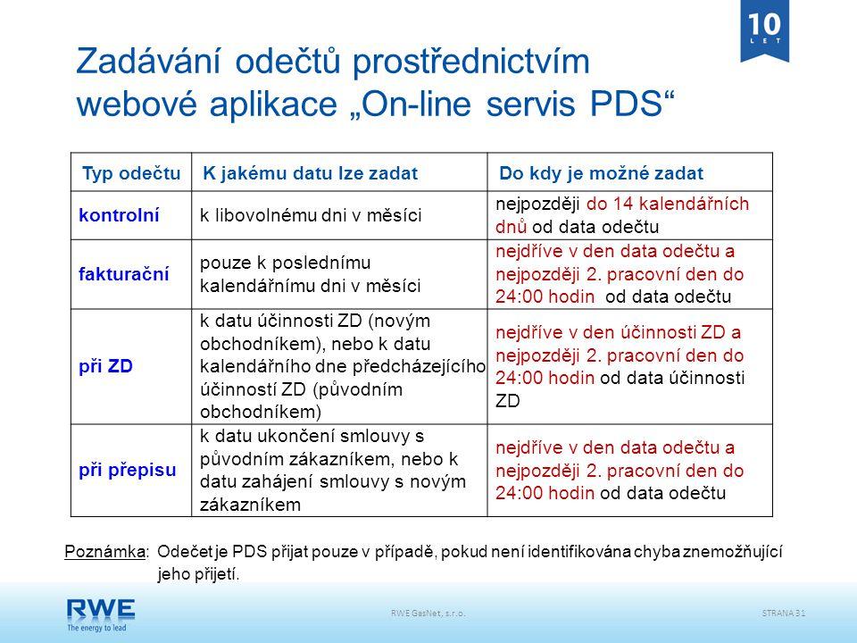 """Zadávání odečtů prostřednictvím webové aplikace """"On-line servis PDS"""