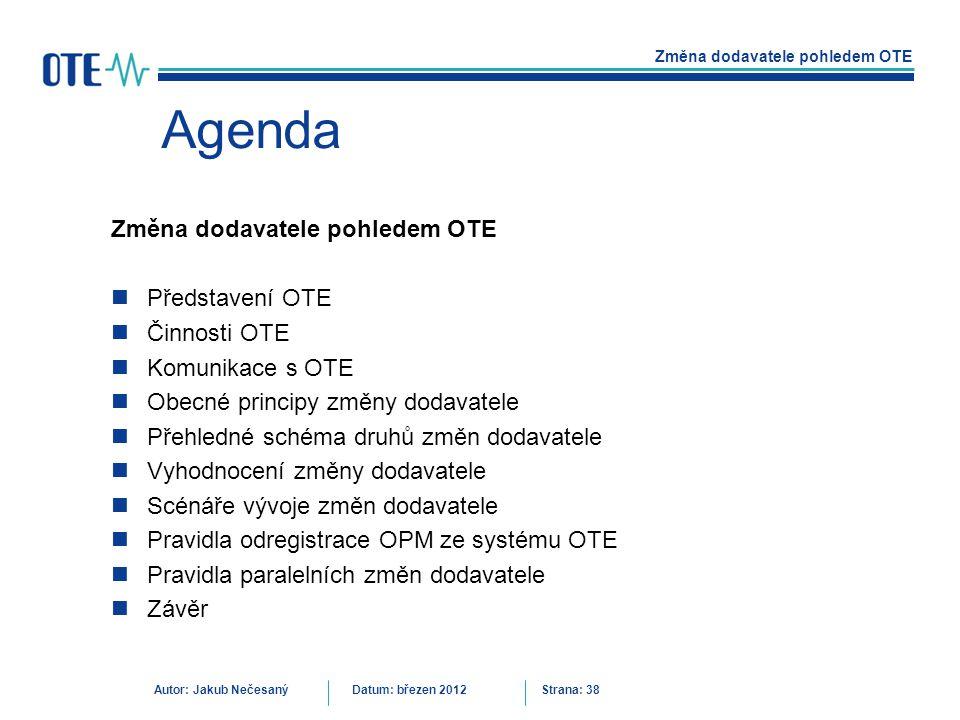 Agenda Změna dodavatele pohledem OTE Představení OTE Činnosti OTE