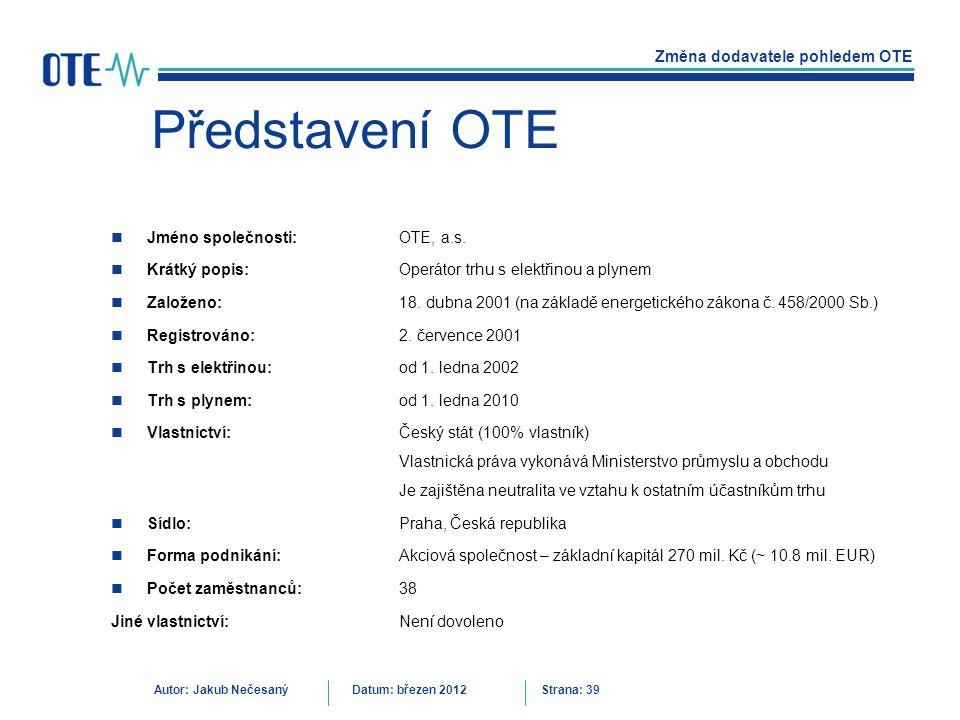 Představení OTE Jméno společnosti: OTE, a.s.