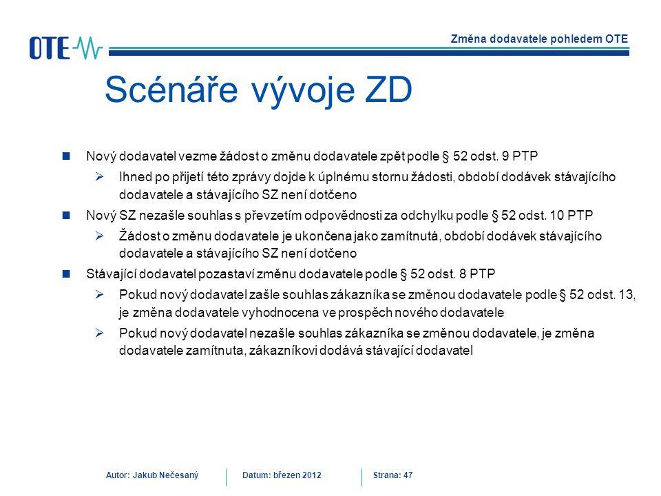 Scénáře vývoje ZD Nový dodavatel vezme žádost o změnu dodavatele zpět podle § 52 odst. 9 PTP.