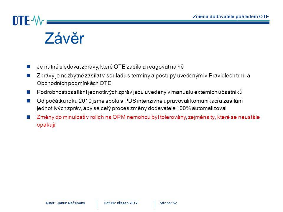 Závěr Je nutné sledovat zprávy, které OTE zasílá a reagovat na ně