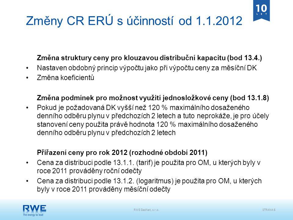 Změny CR ERÚ s účinností od 1.1.2012