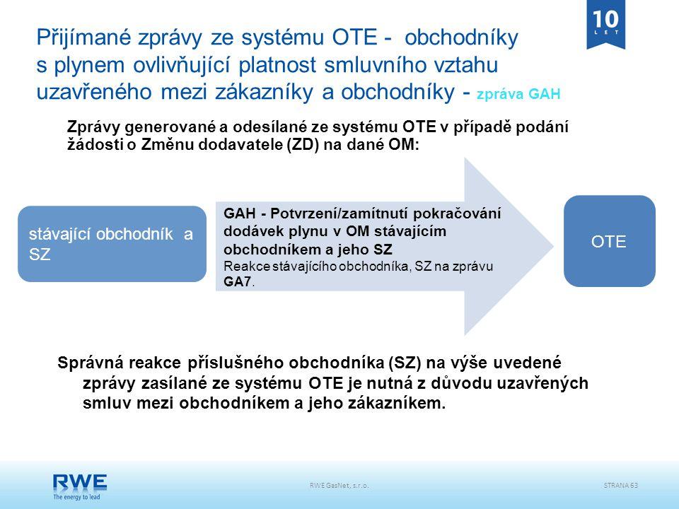 Přijímané zprávy ze systému OTE - obchodníky s plynem ovlivňující platnost smluvního vztahu uzavřeného mezi zákazníky a obchodníky - zpráva GAH