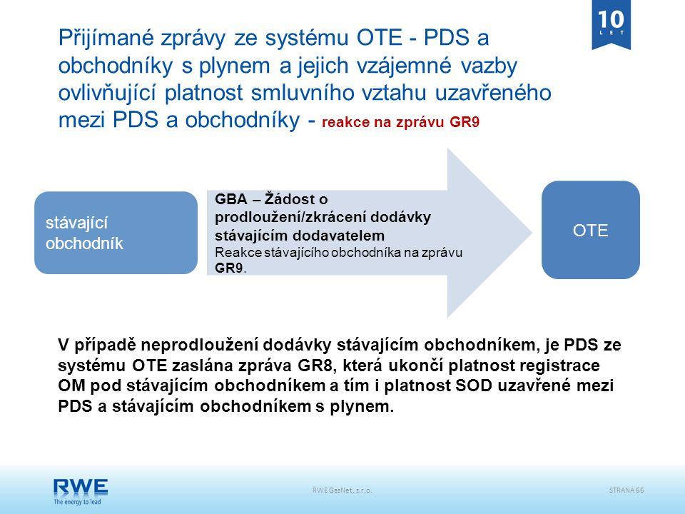 Přijímané zprávy ze systému OTE - PDS a obchodníky s plynem a jejich vzájemné vazby ovlivňující platnost smluvního vztahu uzavřeného mezi PDS a obchodníky - reakce na zprávu GR9
