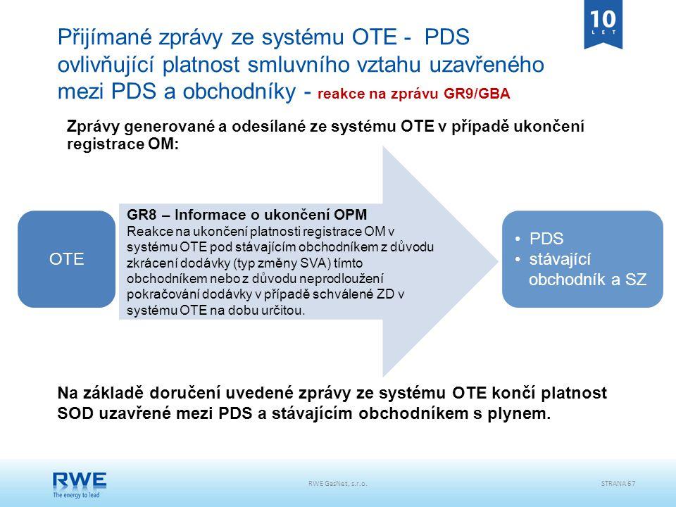 Přijímané zprávy ze systému OTE - PDS ovlivňující platnost smluvního vztahu uzavřeného mezi PDS a obchodníky - reakce na zprávu GR9/GBA